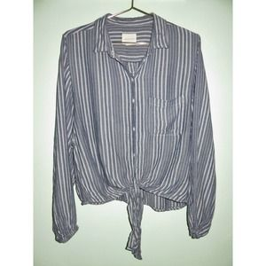 American Eagle Blue Stripe Button Front Tie Top
